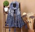 Novo azul e branco da porcelana lenços estilo étnico da cópia da flor chiffon lenço com borlas requintados tradicional bandana
