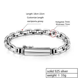 Image 2 - Мужской винтажный браслет ZABRA, браслет из настоящего серебра 925 пробы с крестом, толщина 7 мм, длина по индивидуальному заказу, ювелирные изделия