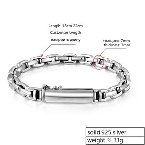 Image 2 - ZABRA Genuine 925 Sterling Silver Bracelet Man 7mm Thickness Customize Length Punk Rock Vintage Cross Bracelets Mans Jewelry