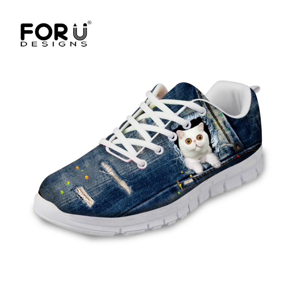 ФОТО FORUDESIGNS Jeans Style Women Casual Shoes Cute Denim Animal Cat Prints Breathable Mesh Shoes Lace-up Flats Shoes Zapatos Mujer