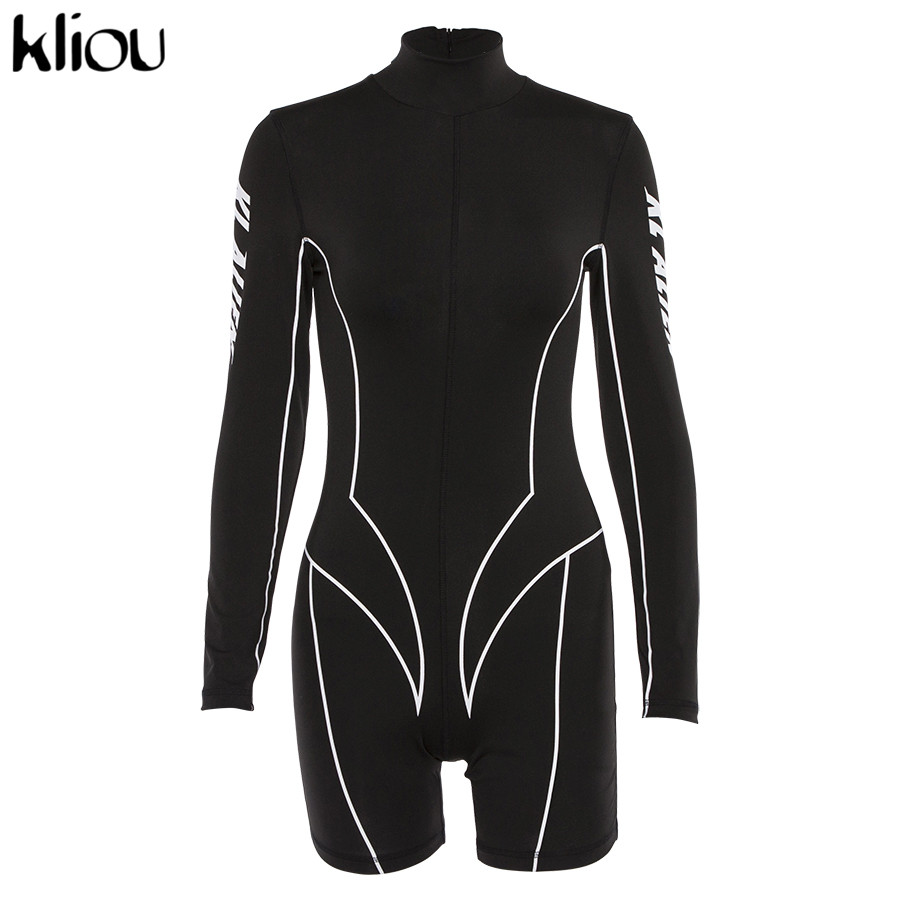Kliou 2019 new women turtleneck full sleeve fitness playsuit white striped patchwork letter print push up skinny casual bodysuit 130