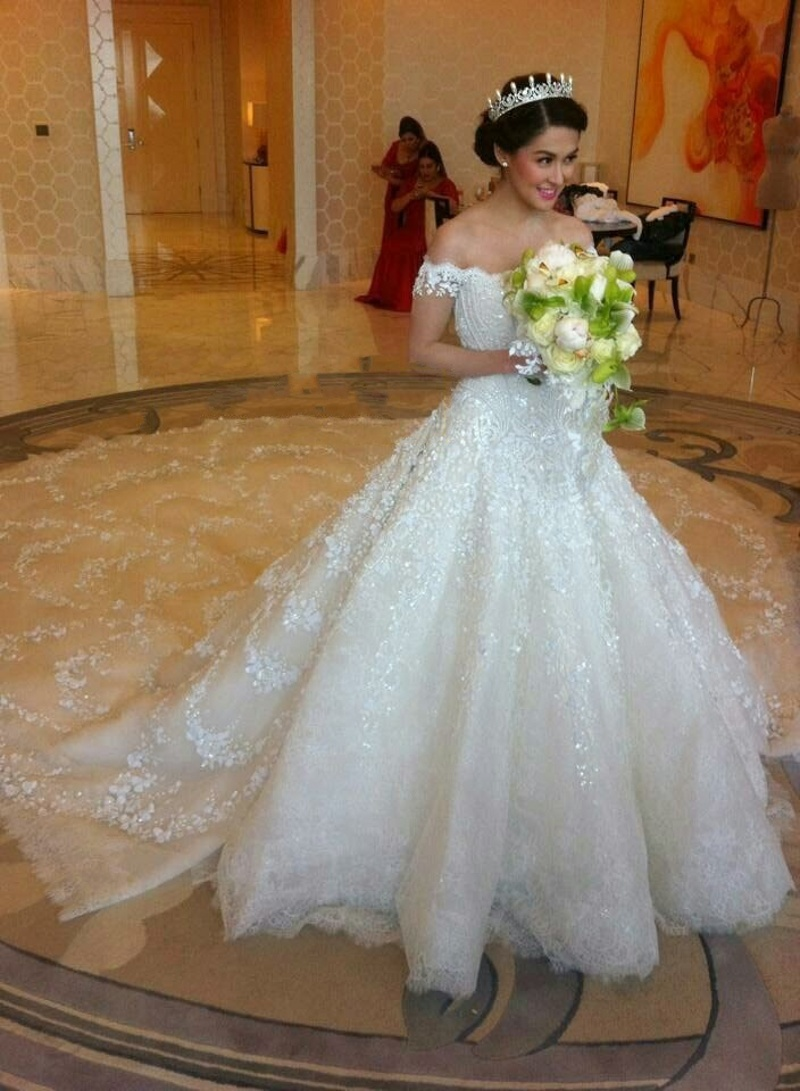 Luxury White Beaded Wedding Dresses With Royal Tail Ball Gown Off