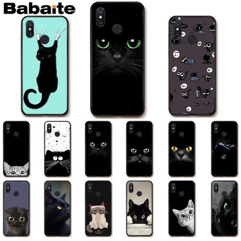 Babaite Cool Black Cat Green Eyes Soft Silicone Phone Cover <font><b>case</b></font> For xiaomi <font><b>mi</b></font> <font><b>8se</b></font> 6 mi8lite note2 note3 mix2 max2 max3 Cover image