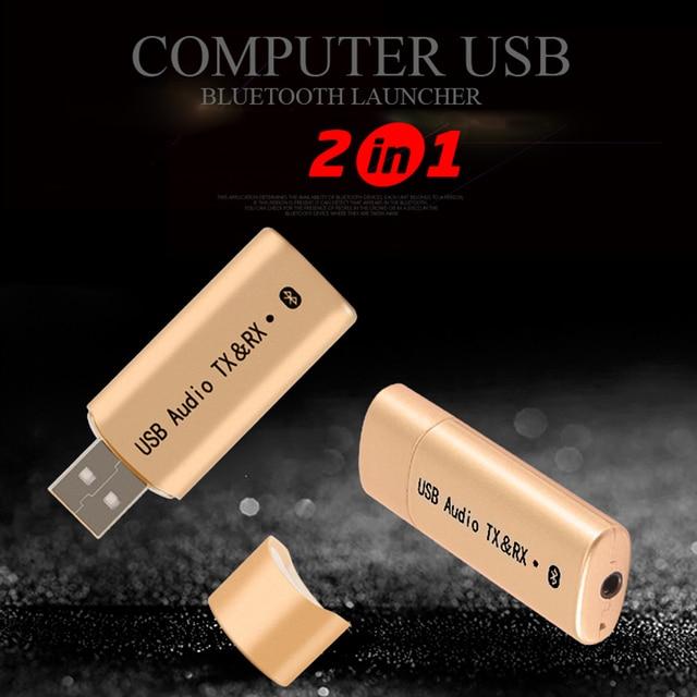 2 In 1 Wireless BLUETOOTH 4.2 ตัวรับสัญญาณเครื่องเสียง 3.5 มม.USB Sender Transmiter อะแดปเตอร์สำหรับ PC คอมพิวเตอร์ทีวีขายส่ง