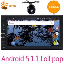 Double 2 Din Android 5.1.1 Lollipop Universal Car Radio Quad Core Head Unit HD touch screen 2din Car GPS Navigation free camera