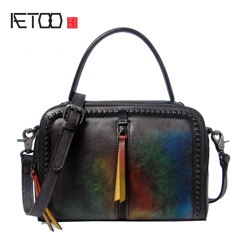 AETOO New leather handbags retro handbag head layer cowhide shoulder bag leisure Messenger bag aetoo the new national style classical leather handbags ladies retro fashion handbag shoulder messenger bag