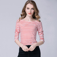 2017 Spring and Summer Women's Fashion Slim Slash-Neck Long Sleeve Striped Short Thin Pullovers Women Casual Pullovers
