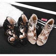 2019 Fashion High Heeled Celebrity Gladiator Sandal Bohemian Heel Sandals Lace Up Bondage Borgue Hot Shoes