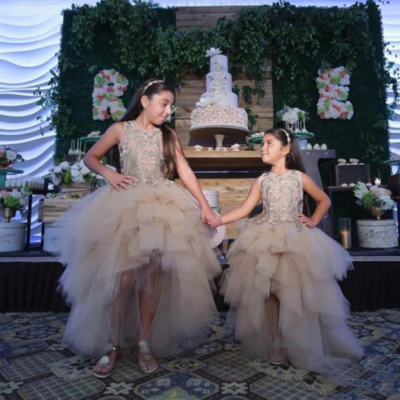 Classy High Low   Flower     Girl     Dresses   Special Occasion For Weddings Lace Appliqued Kids Pageant Gowns Ball Gown Tulle Custom