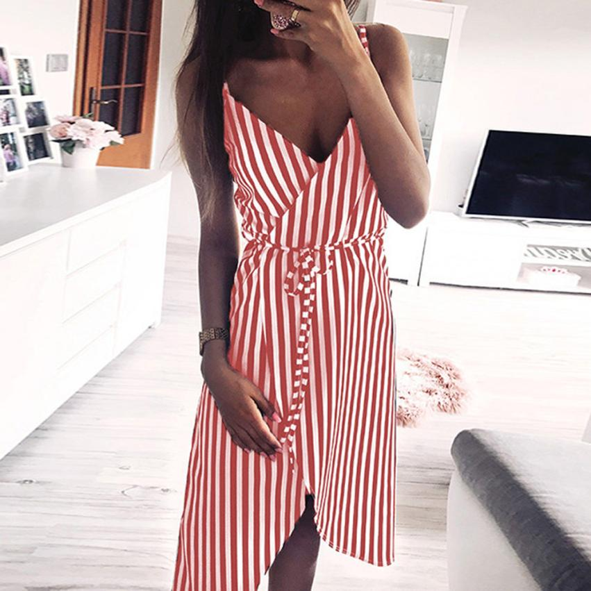 HTB17HY6mcj B1NjSZFHq6yDWpXa3 KANCOOLD dress Women Stripe Printing Sleeveless Off Shoulder Dress Evening Party Vest Empire Sashes dress women 2018AUG1