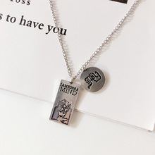 купить Japan and South Korea tide letters silver square coin pendant round metal sweater chain men and women necklace дешево