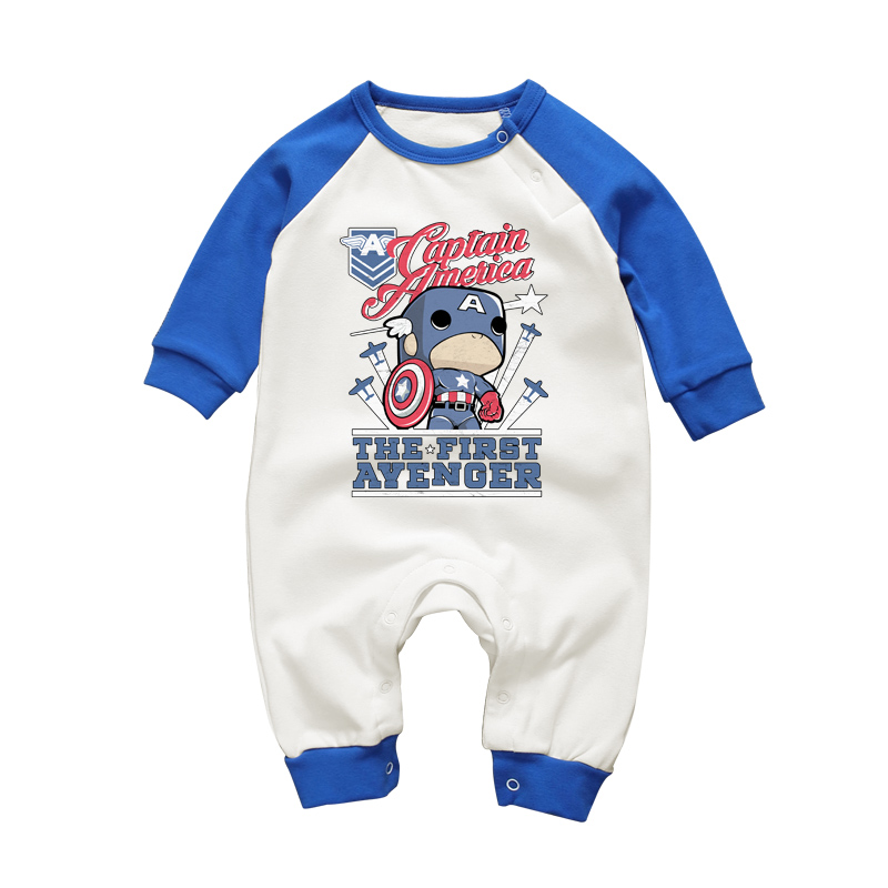 2017 Autumn Baby Boy Rompers Captain America Cartoon Newborn Clothing Set Baby Girls Jumpsuits Long Sleeve Toddler Pajamas strip baby rompers long sleeve baby boy clothing jumpsuits children autumn clothing set newborn baby clothes cotton baby rompers