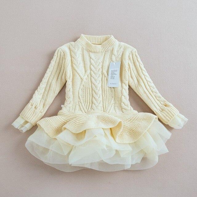 Marca niños niñas suéter de punto vestidos princesa suéteres ...