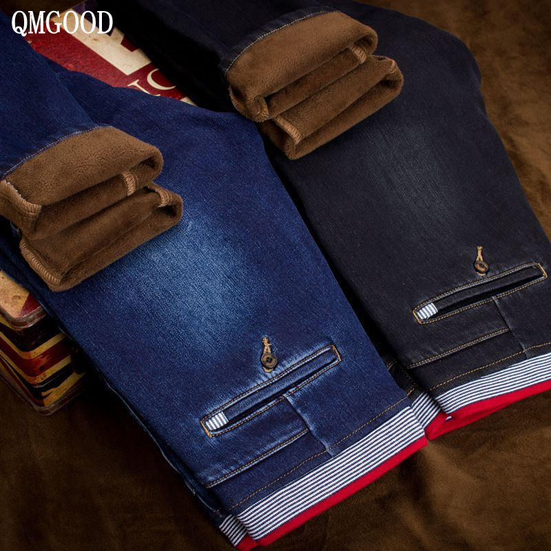 QMGOOD Men Plus Cashmere Fashion Drawstring Loose Waist Slim Jeans Winter Men's New Thicken Warm Casual Cowboy Trousers 30 31 32 qmgood 2017 mens jeans new fashion men casual cotton jeans slim straight elastic jeans loose waist long trousers hot sales 30 31