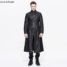 Men Buckle Straps Stand Collar COOL Punk Trench Coat PU Leather Long & Short Motorcycle Jacket CT03602