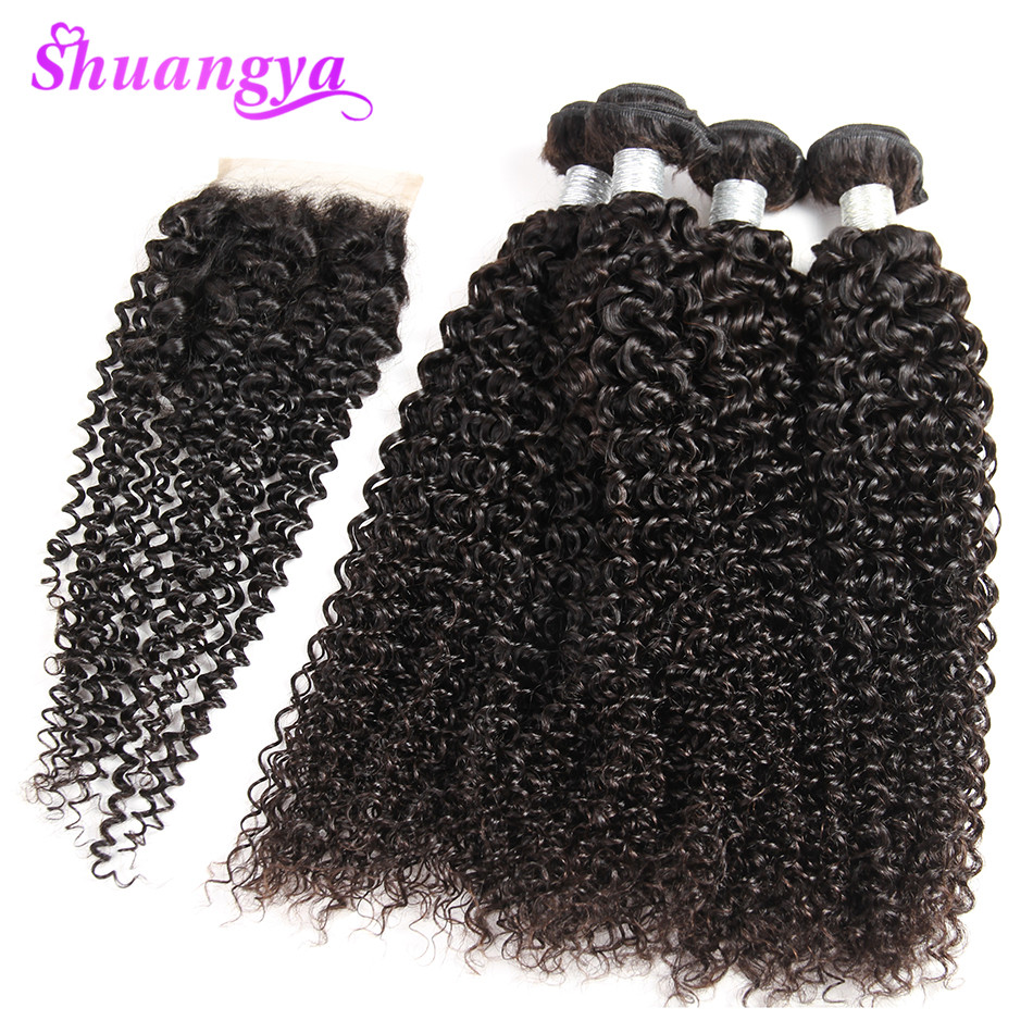 Peruvian Kinky Curly Hair With Closure Remy Hair Weave 3/4 Bundles Human Hair Bundles With Closure Shuangya Hair Extensions
