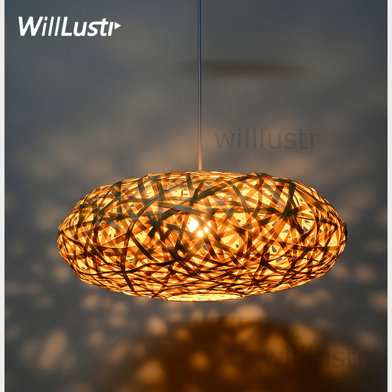 Handmade Bamboo Pendant Lamp Bird Nest Home Bedroom Hotel Dinning Room Restaurant Hand Knitted Suspension Hanging Light