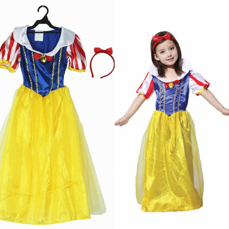 Quality Children Halloween Fairy Tales Princess Dress Christmas Night Dress Up Ball White Snow Princess Dress Cosplay Co