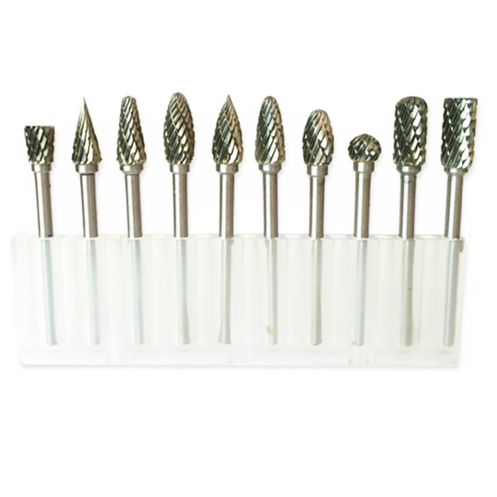 Conjuntos de Mini Brocas de Diamante Material de Tungstênio Carboneto de Tungstênio Aço de Tungstênio Moagem Cabeça Broca Rebarbas Dremel Acessórios 10 Pcs