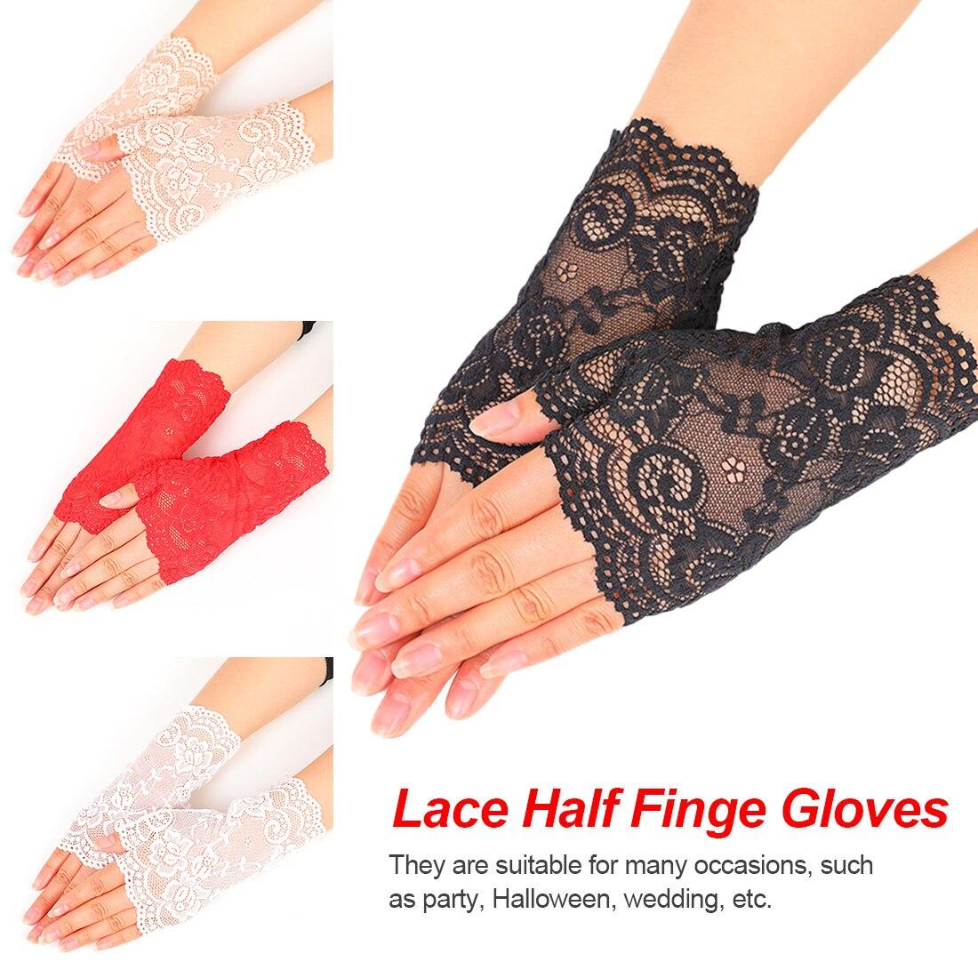 Sheer Floral Lace Fingerless Gloves Women Black Rose Gloves Scalloped Trim Summer Outdoor Sun-Blocking Mittens 2019 New Arrival