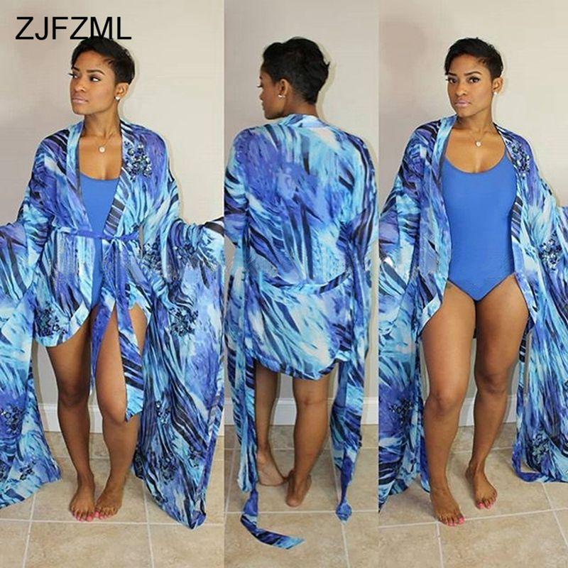 ZJFZML Orange Print Summer Two Piece Outfit Women Long Flare Sleeve Sash Cardigan And Sexy Deep V Neck Sleeveless Bodysuit