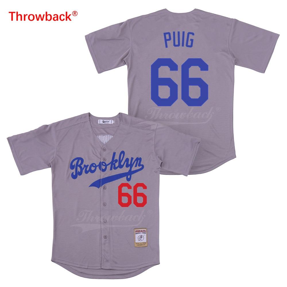 Baseball & Softball Learned Throwback Baseball Jersey Mens Movie Brooklyn Jersey Puig Jerseys Shirt Stiched Size S-xxxl Wholesale Free Shipping Cheap Strengthening Waist And Sinews