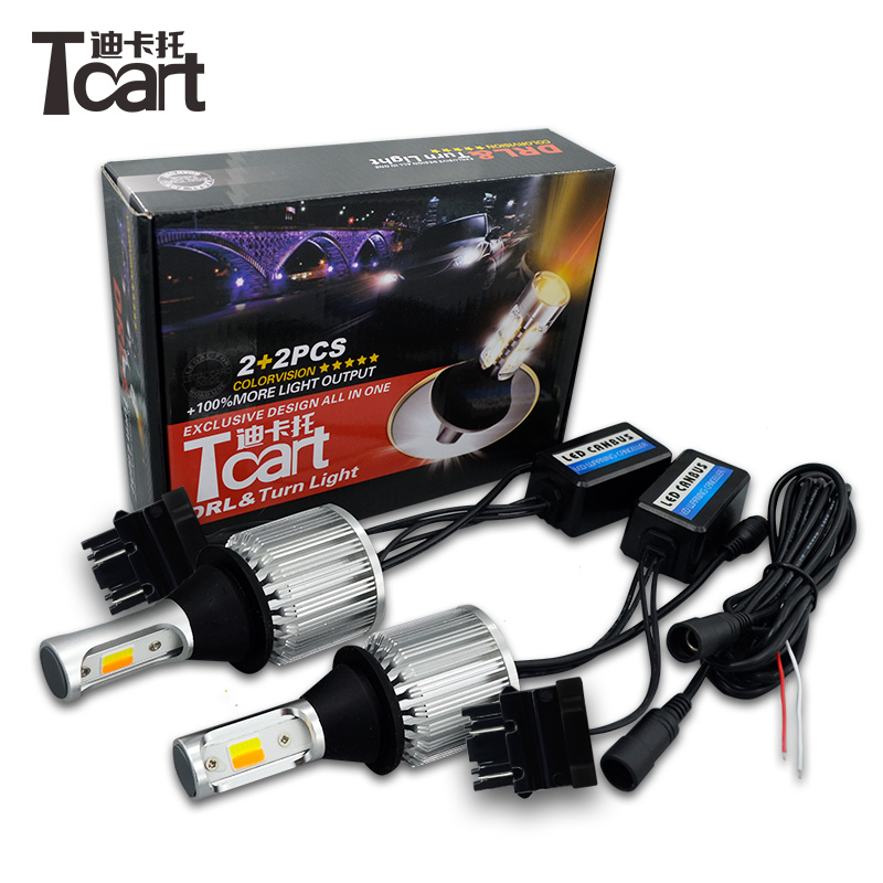 Tcart 3157 3457 для Nissan листьев drl поворотов автомобиля интимные аксессуары дневного света и поворотов светодио дный bau15s