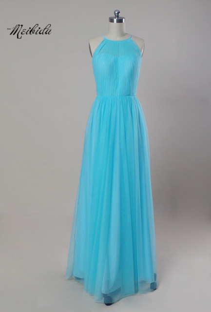 543c51c60ed0 Long Sliver Turquoise Bridesmaid Dresses Floor Length Halter Honor of the  Maid Dresses Mermaid Chiffon Wedding Guest Gowns