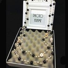 N21 номер 5 цветы Камелия бренд колье Femme ювелирные изделия из жемчуга свитер цепи Perle длинное ожерелье для женщин