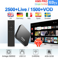 IPTV Sweden Spain Italy Germany IUDTV KM9 Pro Android TV 9.0 4G+32G BT Dual-Band WIFI IPTV Greece Spain Italy UK Nordic Receiver