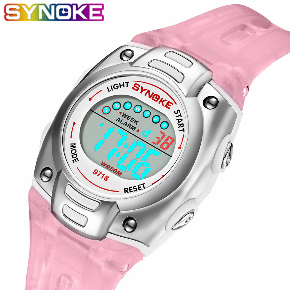 SYNOKE 2019 New Arrival Fashion Children Watches Kid Boy Digital LED Quartz Alarm Date Sports Wrist Watches For Girls