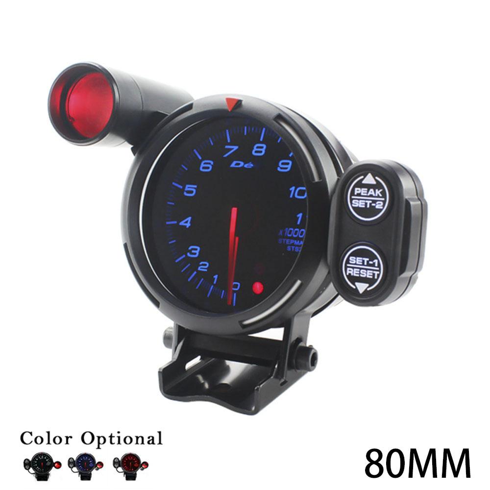 Prix pour Tachymètre 80mm Rpm Gauge Car styling Universal Moteur pas à pas Tacometro Rpm Indicateur Jauge Auto rouge Bleu Blanc LED Changement lumière