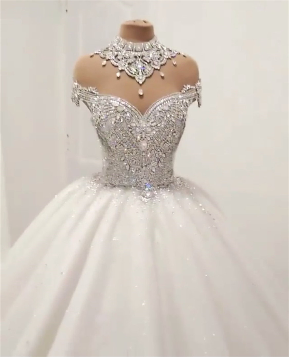 Image 5 - Princess Fluffy Luxury Wedding Dress 2019 Wedding Gowns for Bride Plus Size Tulle Diamond Crystal Beaded Custom Made XJ06S-in Wedding Dresses from Weddings & Events