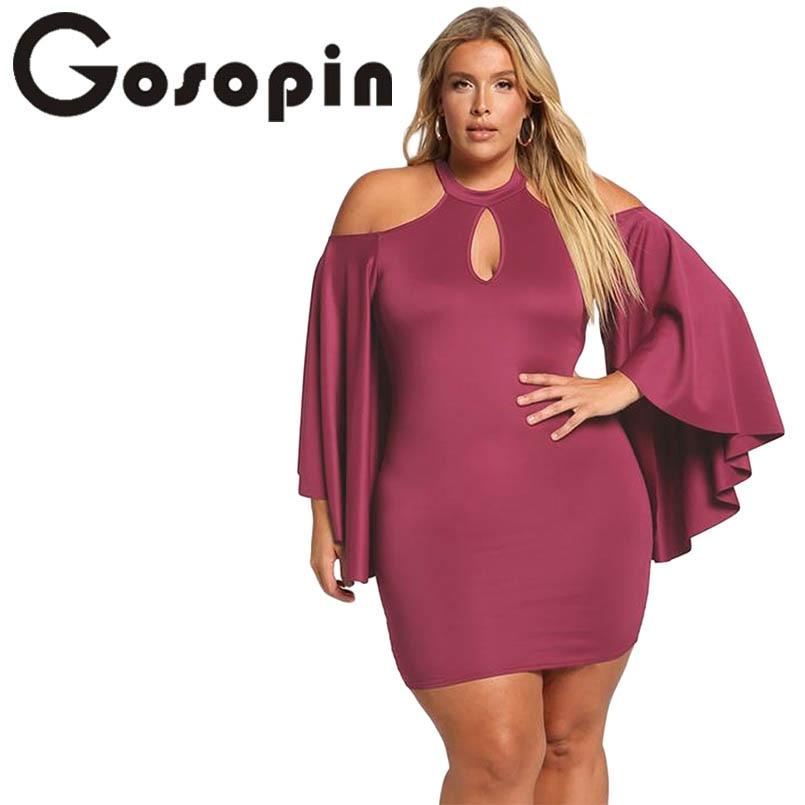 Gosopin Plus Size Cold Shoulder 5XL Size Dress Women Elegant Bodycon Dress  Long Sleeve Sexy Party 9f3bbdd4b7a7