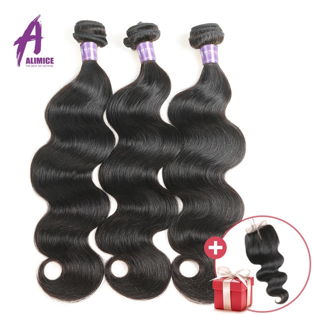 FREE CLOSURE Alimice Hair Brazilian Body Wave Bundles Deals Brazilian Hair Weaves Bundles 100 Human Hair