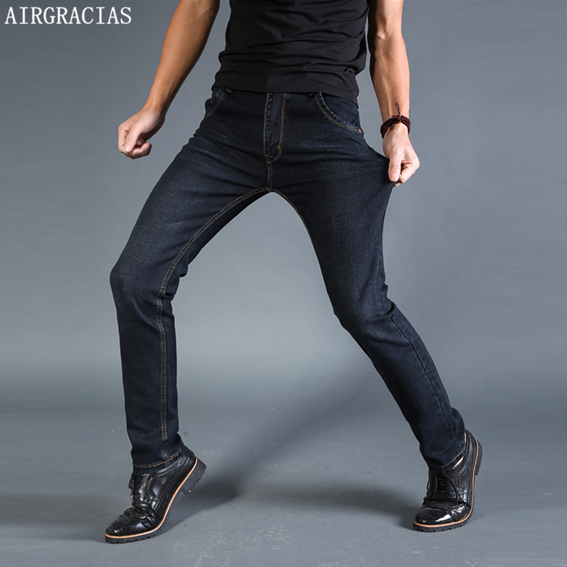 AIRGRACIAS Men Jeans Elastic Classic Straight Long Trousers Pants Cotton Denim Jeans Men Spring New Fashion Men Jean Black/Blue