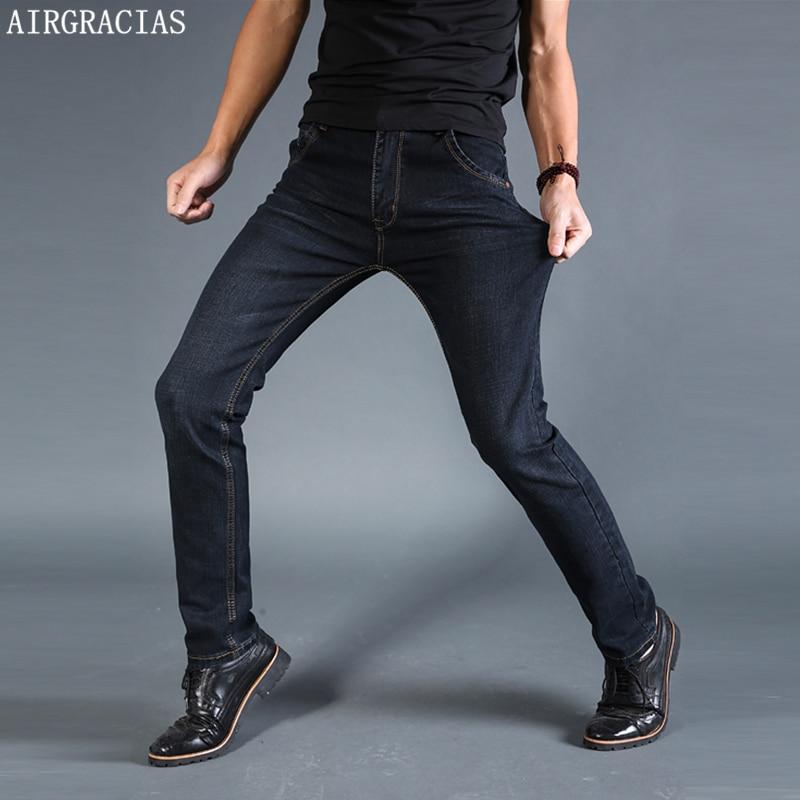 AIRGRACIAS Men Jeans Elastic Classic Straight Long Trousers Pants Cotton Denim Jeans Men Spring New Fashion Men Jean Black/Blue