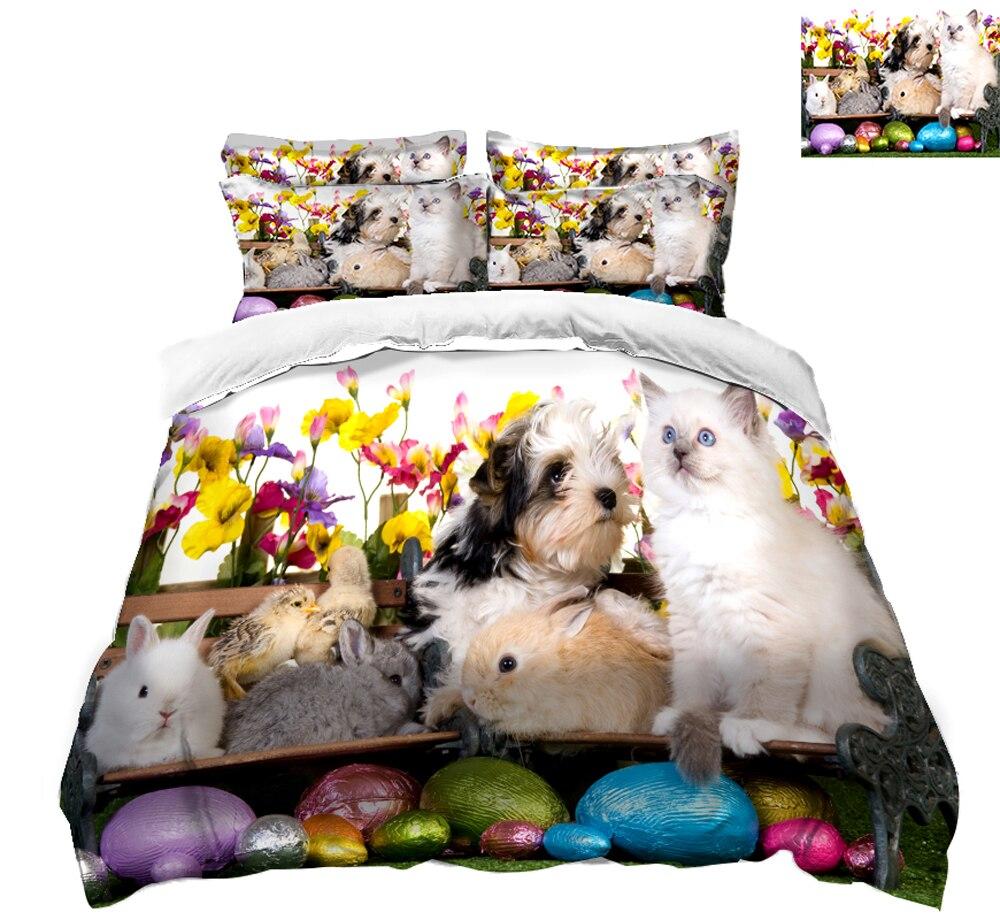 high quality sheet set 3D Bedding Set Twin Full Queen Linen set Double Bed cat pattern Duvet Cover Pillowcase California king