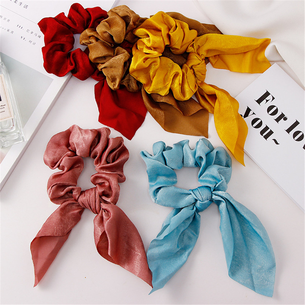2019 New Summer Colorful Chiffon Knot Bow Elastic Hair Bands Ponytail Holder Scrunchie Rubber Hair Clip Fashion Hair Accessories