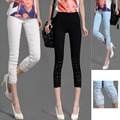 Wholesale New women summer casual candy color skinny slim pencil pants trousers Lace Diamond capris plus size Free shipping