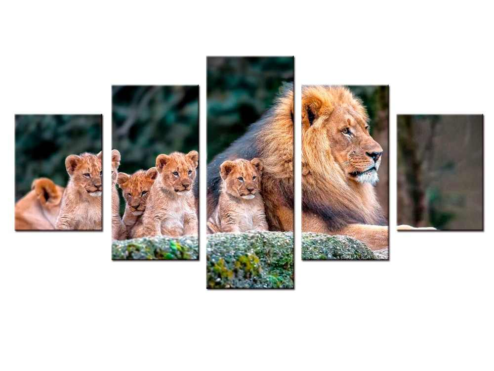 5 pieces / set Animal Painting Lion King Posters Wall Art and Prints Home Decor Canvas Pictures for Living Room