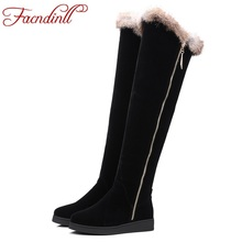 FACNDINLL shoes women winter snow boots keep warm fashion flat heel platform fur over the knee boots long botas woman wedge boot