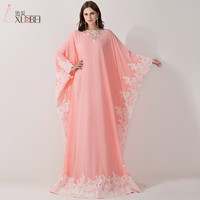 Babyonline Real Photo Wholesale New Fashion Pink Lace Abaya Arabic Kaftan Dubai Evening Dress Long Evening Gowns A Line BZP0408
