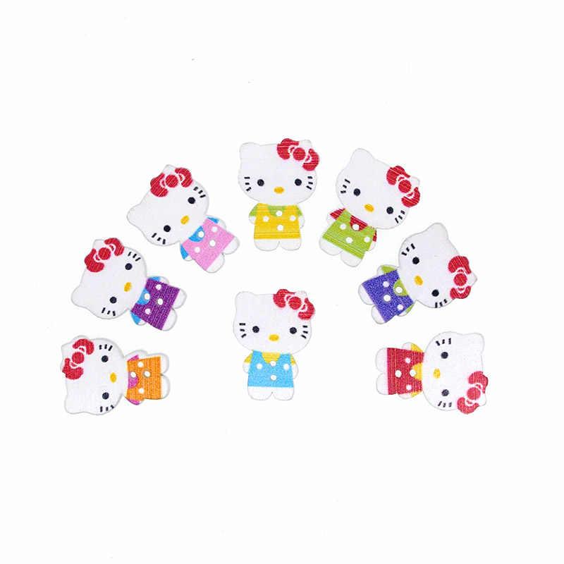 30 sztuk drewniany guzik do szycia Scrapbooking Hello Kitty mieszane dwa otwory Costura Botones udekoruj bottoni botoes 25x20mm W2004