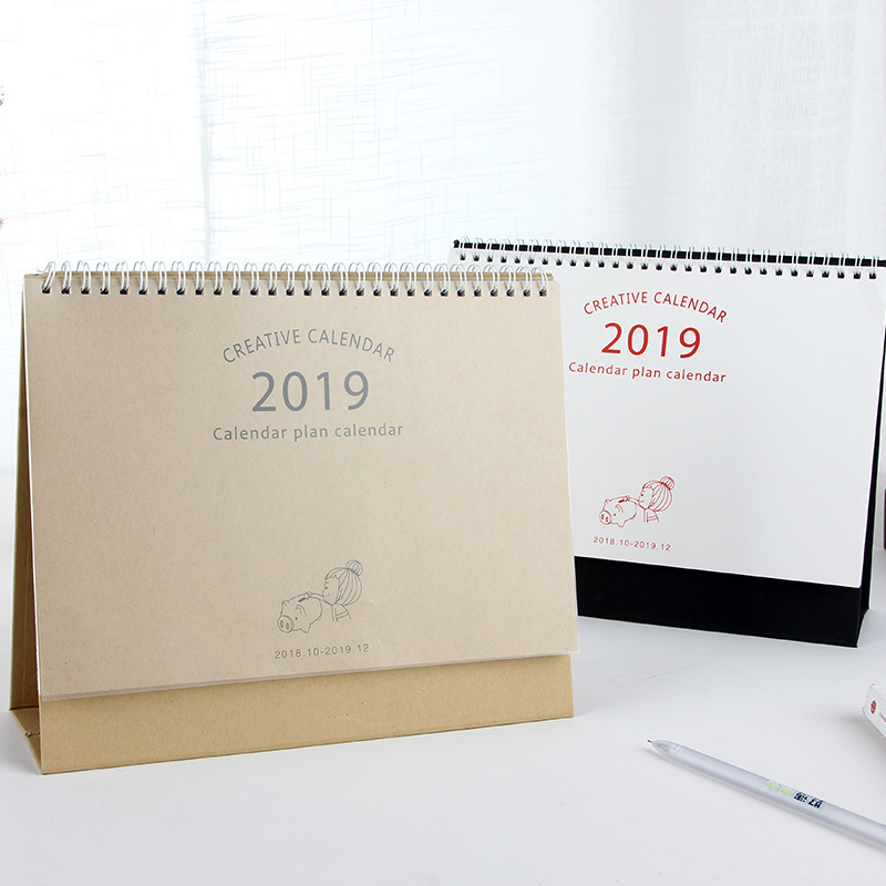 Open-Minded 2019 Cartoon Pig Kraft Paper Calendar Diy Desktop Calendar Agenda Organizer Daily Schedule Planner 2018.08~2019.12 Calendar Office & School Supplies
