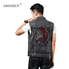 ABOORUN Men's Fashion Denim Vest Black Embroidery Slim fit Jean Waistcoat Spring Autumn Sleeveless Jacket for Male x1855