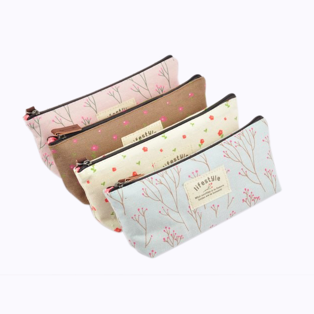 SOSW-Pastoral Canvas Pen Bag ,  New, Different Colors,set Of 4