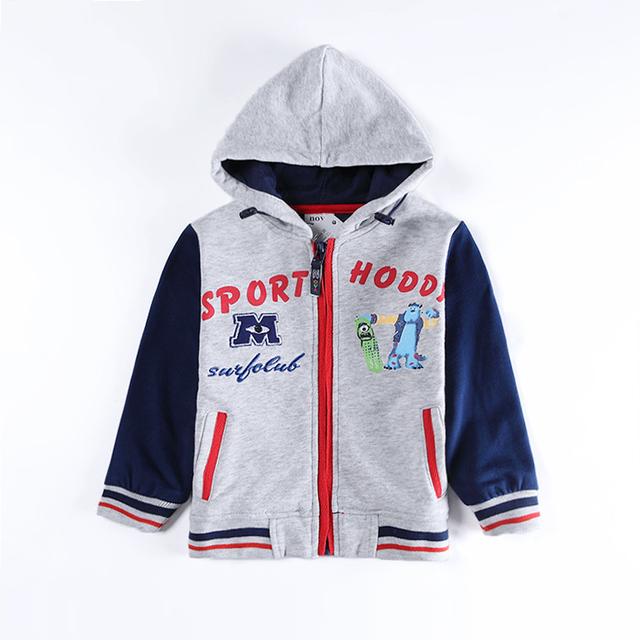 Gris azul de los muchachos sudaderas con cremallera chaqueta del desgaste de los niños sudaderas ropa de bebé año nuevo deportes trajes para bebés niños ropa de algodón