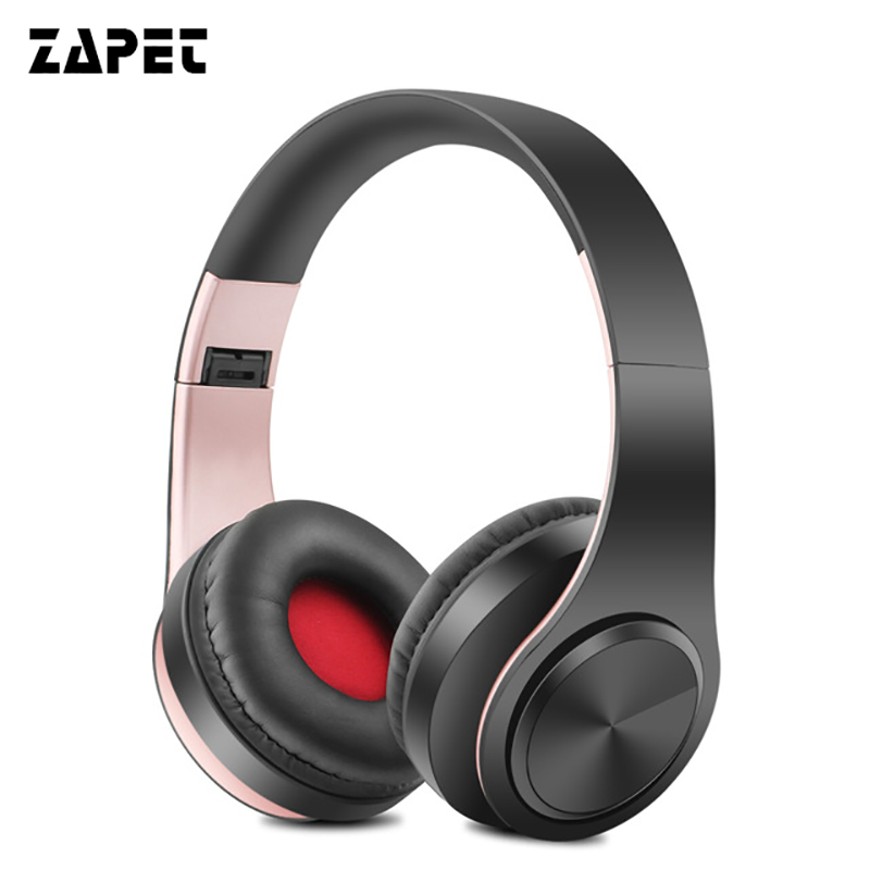 ZAPET Earphones Bluetooth Headphone HIFI Stereo Music Headset Support FM Radio SD Card With Mic For