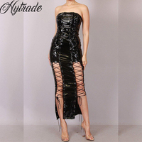 2018 Arrivals Women Shine Outfits Fashion Sexy Club Party Night Out Wear Maxi Black Sleeveless Strapless PVC Latex Lace Up Dress